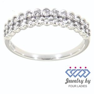 Solid 14K White Gold Diamond Designer Ring